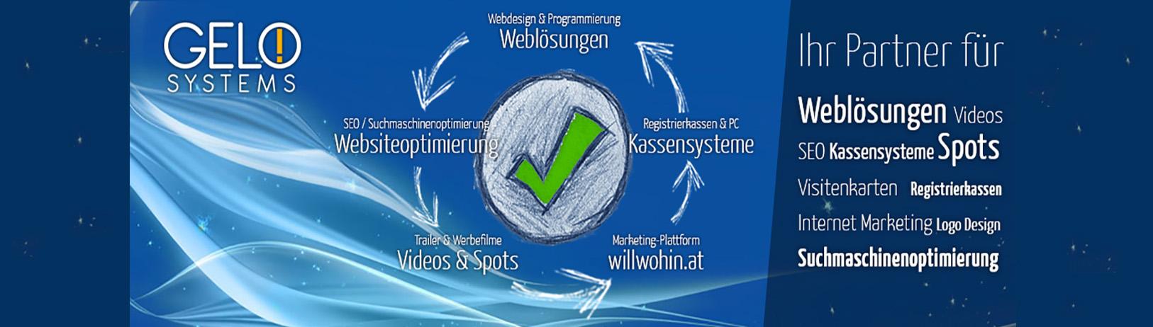 Firma GELO Systems - Ihr Anbieter für Registrierkassen, Kassensysteme, Kassenzubehör wie Thermobonrollen, Weblösungen wie die Erstellung und Programmierung von Homepages und Webseiten, Suchmaschinenoptimierung von Webseiten um bei Suchmaschinen besser gefunden zu werden, professionelle und moderne Firmenvideos und vieles mehr.